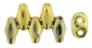 Polished Brass Metallic MiniDuos | Czech 2 x 4mm 2 Hole Glass MiniDuo Seed Beads