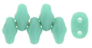 Turquoise Opaque MiniDuos   Czech 2 x 4mm 2 Hole Glass MiniDuo Seed Beads