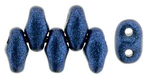 Blue Metallic Suede MiniDuos | Czech 2 x 4mm 2 Hole Glass MiniDuo Seed Beads