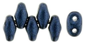 Dark Blue Metallic Suede MiniDuos | Czech 2 x 4mm 2 Hole Glass MiniDuo Seed Beads