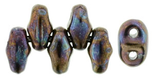 Jet Opaque Luster MiniDuos | Czech 2 x 4mm 2 Hole Glass MiniDuo Seed Beads