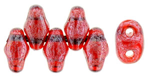 Siam Ruby Transparent Luster MiniDuos | Czech 2 x 4mm 2 Hole Glass MiniDuo Seed Beads