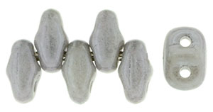 Gray Opaque Luster MiniDuos | Czech 2 x 4mm 2 Hole Glass MiniDuo Seed Beads