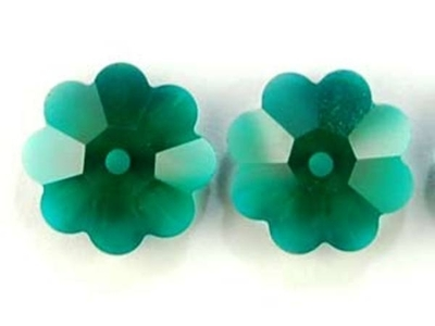 Swarovski Crystal 10mm Daisy Bead 3700 - Emerald - Dark Green - Transparent Finish