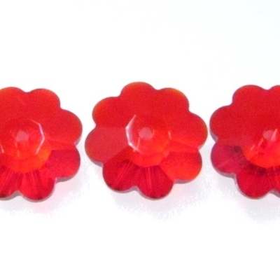 Swarovski Crystal 10mm Daisy Bead 3700 - Light Siam Red - Transparent Iridescent Finish | Swarovski Marguerites