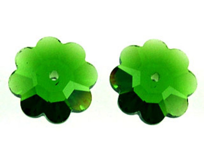 Swarovski Crystal 12mm Daisy Bead 3700 - Fern Green - Transparent Finish