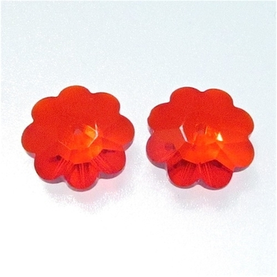 Swarovski Crystal 12mm Daisy Bead 3700 - Light Siam Red- Transparent Iridescent Finish | Swarovski Marguerites