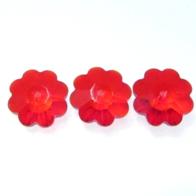 Swarovski Crystal 8mm Daisy Bead 3700 - Light Siam Red- Transparent Iridescent Finish | Swarovski Marguerites