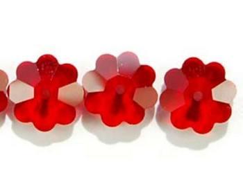 Swarovski Crystal 8mm Daisy Bead 3700 - Siam - Deep Red - Transparent Finish