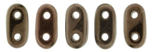 CzechMate Bar Seed Beads - Dark Bronze - Metallic Iridescent Finish | 2 x 6mm 2 Hole CzechMate Bars