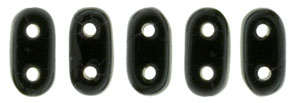 CzechMate Bar Seed Beads - Jet - Opaque Finish   2 x 6mm 2 Hole CzechMate Bars