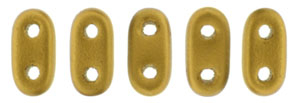 CzechMate Bar Seed Beads - Antique Gold - Matte Metallic Finish | 2 x 6mm 2 Hole CzechMate Bars