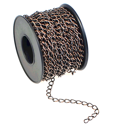 4.2mm Wide Antique Copper Base Metal Curb Chain | Base Metal Chains for Making Jewelry
