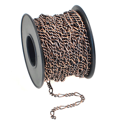 2.3mm Wide Antique Copper Plate Figaro Chain | Metal Chains for Jewelry-making