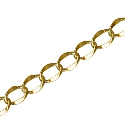 6mm Wide Gold Plate Hammered Curb Chain | Metal Chains for Jewelry-making