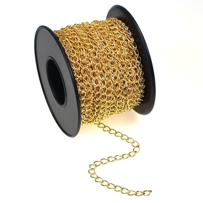 2.8 x 4mm Gold Plate Curb Chain | Gold Plated Base Metal Chains for Making Jewelry
