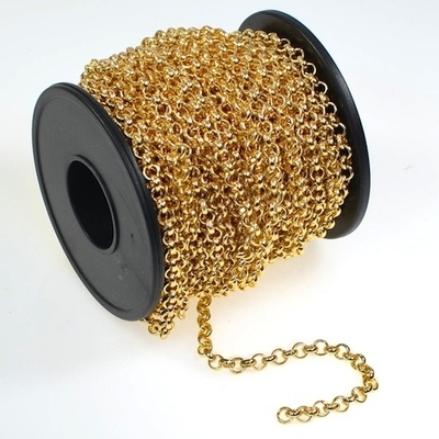3.9mm Gold Plate Rollo Belcher Chain | Gold Plated Base Metal Chains for Making Jewelry