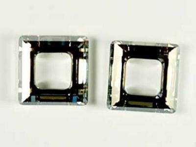 Swarovski Crystal 14mm Square Ring 4439 - Crystal Silver Shade CAL Silver - Half Coat Finish