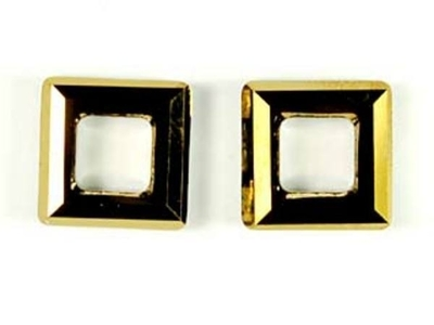 Swarovski Crystal 14mm Square Ring 4439 - Crystal Dorado Dark Gold - Half Coat Finish