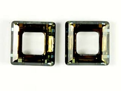 Swarovski Crystal 14mm Square Ring 4439 - Crystal Tabac | Harlequin Beads and Jewelry