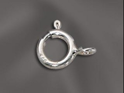 6mm Springring with Soldered Ring Clasp - Sterling Silver - 12 Pack | Metal Jewelry Clasps | Findings