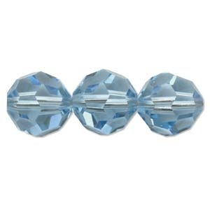 Swarovski Crystal 10mm Round Bead 5000 - Aquamarine - Aqua Blue - Transparent Finish