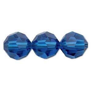 Swarovski Crystal 4mm Round Bead 5000 - Capri Blue - Transparent Finish