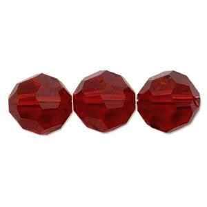 Swarovski Crystal 4mm Round Bead 5000 - Siam - Deep Red - Transparent Finish