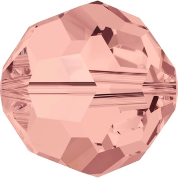 Swarovski Crystal 6mm Blush Rose Round Bead 5000 with Transparent Finish