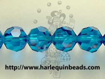 Swarovski Crystal 6mm Round Bead 5000 - Capri Blue - Transparent Finish