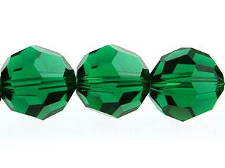 Swarovski Crystal 6mm Round Bead 5000 - Emerald - Dark Green - Transparent Finish