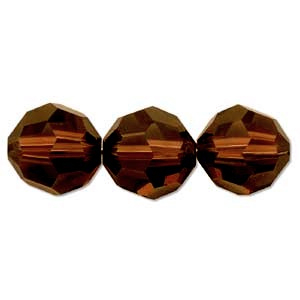 Swarovski Crystal 6mm Round Bead 5000 - Mocca - Reddish Brown - Transparent Finish