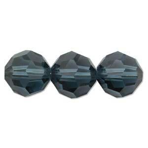 Swarovski Crystal 6mm Round Bead 5000 - Montana - Greyish Blue - Transparent Finish