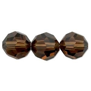 Swarovski Crystal 6mm Round Bead 5000 - Smoked Topaz - Dark Brown - Transparent Finish