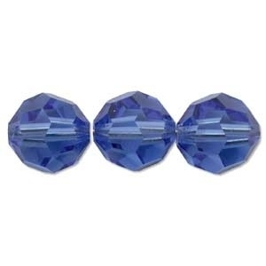 Swarovski Crystal 6mm Round Bead 5000 - Sapphire - Blue - Transparent Finish