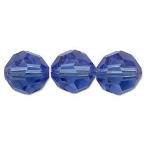 Swarovski Crystal 6mm Round Bead 5000 - Sapphire - Blue - Transparent Finish