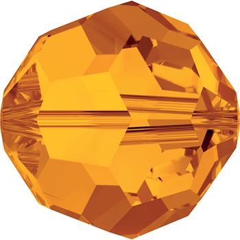 Swarovski Crystal 6mm Tangerine Orange Round Bead 5000 with Transparent Finish