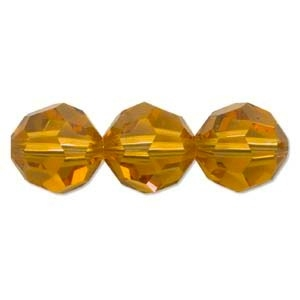 Swarovski Crystal 6mm Round Bead 5000 - Topaz - Gold - Transparent Finish