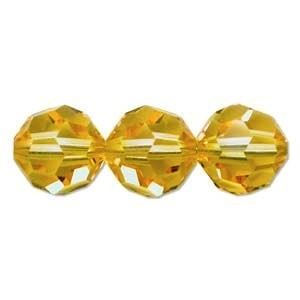 Swarovski Crystal 6mm Round Bead 5000 - Light Topaz - Light Gold - Transparent Finish