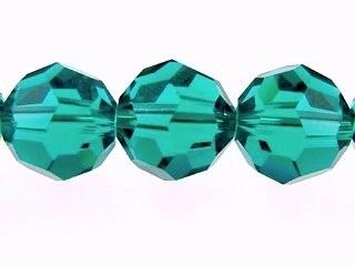 Swarovski Crystal 6mm Round Bead 5000 - Blue Zircon - Blue Green - Transparent Finish