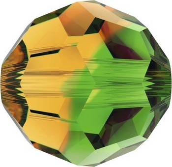 Swarovski Crystal 8mm Round Bead 5000 - Fern Green Topaz Blend - Transparent Finish
