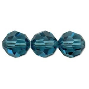 Swarovski Crystal 8mm Round Bead 5000 - Indicolite - Blue Green - Transparent Finish