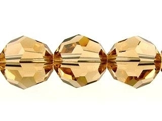 Swarovski Crystal 8mm Round Bead 5000 - Light Colorado Topaz - Light Brown - Transparent Finish
