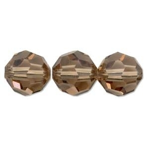 Swarovski Crystal 8mm Round Bead 5000 - Light Smoked Topaz - Brown - Transparent Finish