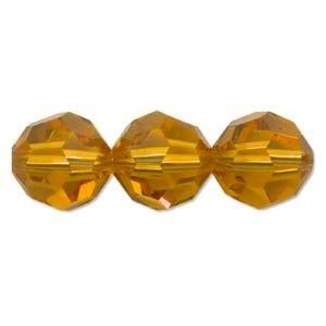 Swarovski Crystal 8mm Round Bead 5000 - Topaz - Gold - Transparent Finish