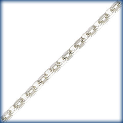 1.5mm Wide Sterling Silver Flat Drawn Link Cable Chain | Sterling Silver Chains for Making Jewelry