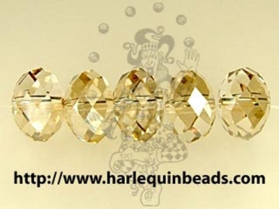 Swarovski Crystal 6mm Rondell Bead 5040 - Crystal Golden Shadow - Transparent with Finish