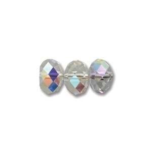 Swarovski Crystal 8mm Rondell Bead 5040 - Crystal AB - Clear - Transparent Iridescent Finish