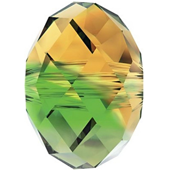 Swarovski Crystal 8mm Rondell Bead 5040 - Fern Green Topaz Blend - Transparent Finish