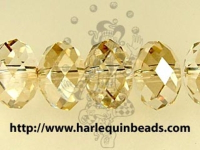 Swarovski Crystal 8mm Rondell Bead 5040 - Crystal Golden Shadow - Transparent with Finish